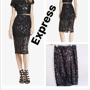 Express LACE SEQUIN MIDI PENCIL SKIRT Size 4